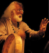 Doug von Koss with large Native American drum  at the 2002  Great Mother Conference
